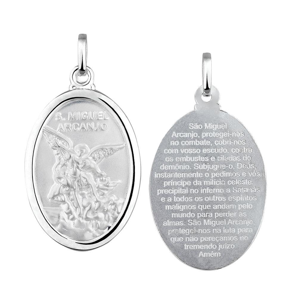 5dd266a469e8f Pingente Medalha de São Miguel em Prata 925   Joia em Casa - JoiaEmCasa