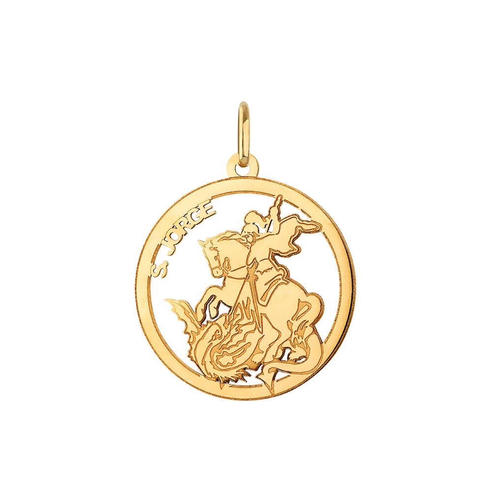 Pingente Circular São Jorge em Ouro 18k   Joia em Casa - JoiaEmCasa 00bd62eb3c