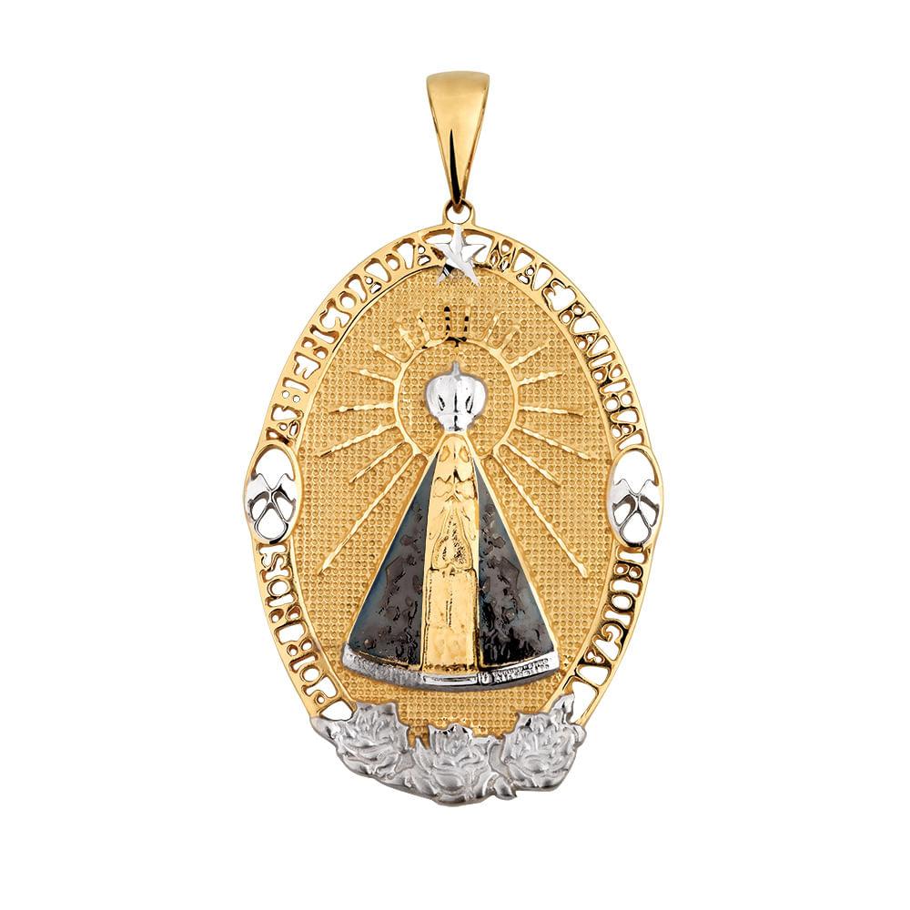Pingente Nossa Senhora Aparecida em Ouro 18k Oval   Joia em Casa ... bfe64254a9