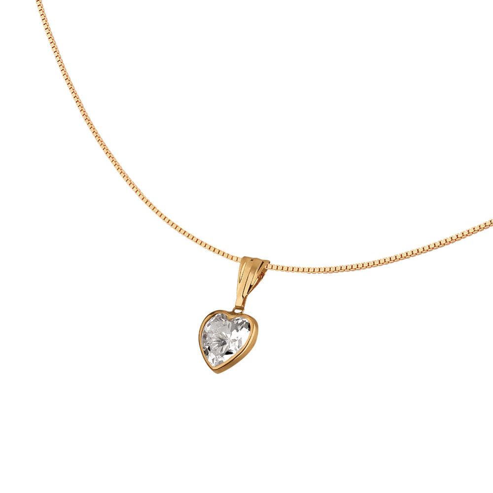 3947a189f806f Colar Ponto de Luz com Coração em Ouro 18k - JoiaEmCasa