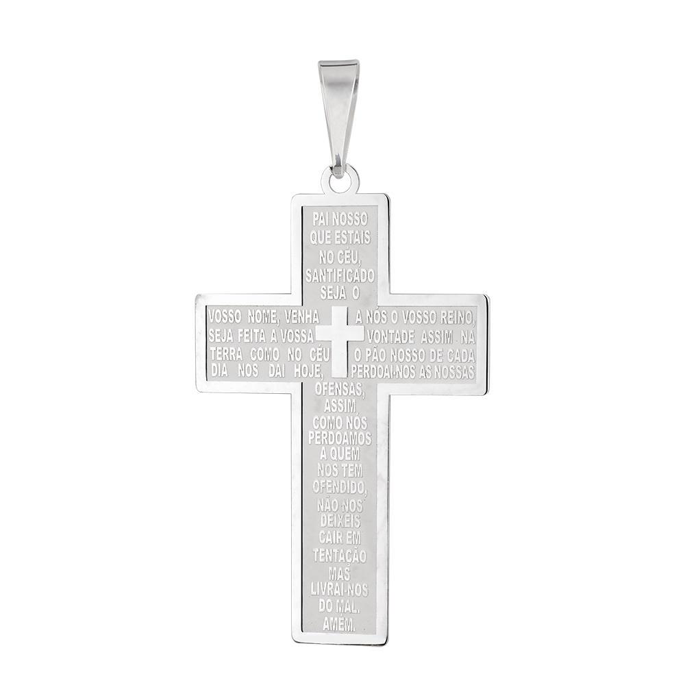 Pingente Cruz Pai Nosso Extra Grande em Prata 925 - JoiaEmCasa 19cfdf8a0c