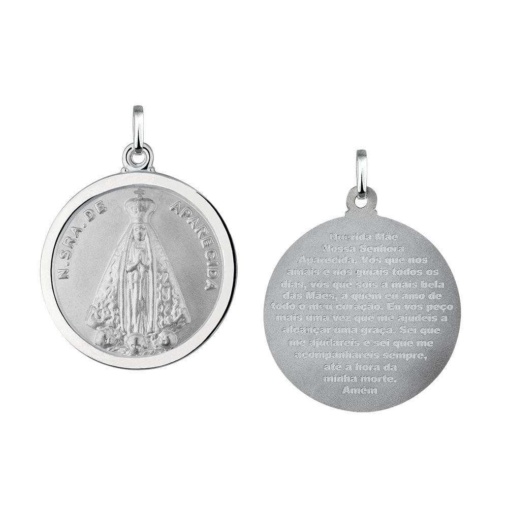 Pingente Nossa Senhora de Aparecida Redonda em Prata 925 - JoiaEmCasa 5a3a8c8cae