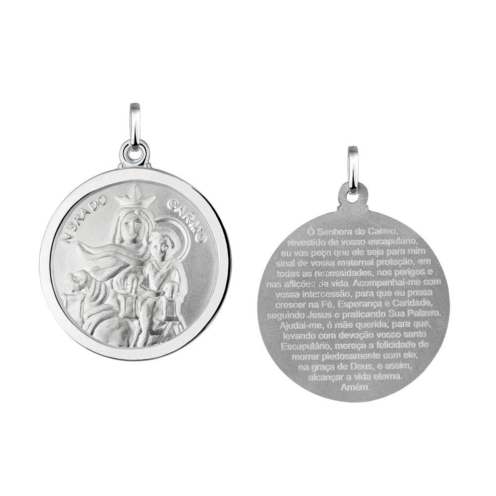 Pingente Nossa Senhora do Carmo Redonda em Prata 925 - JoiaEmCasa 1d5cf93bf5