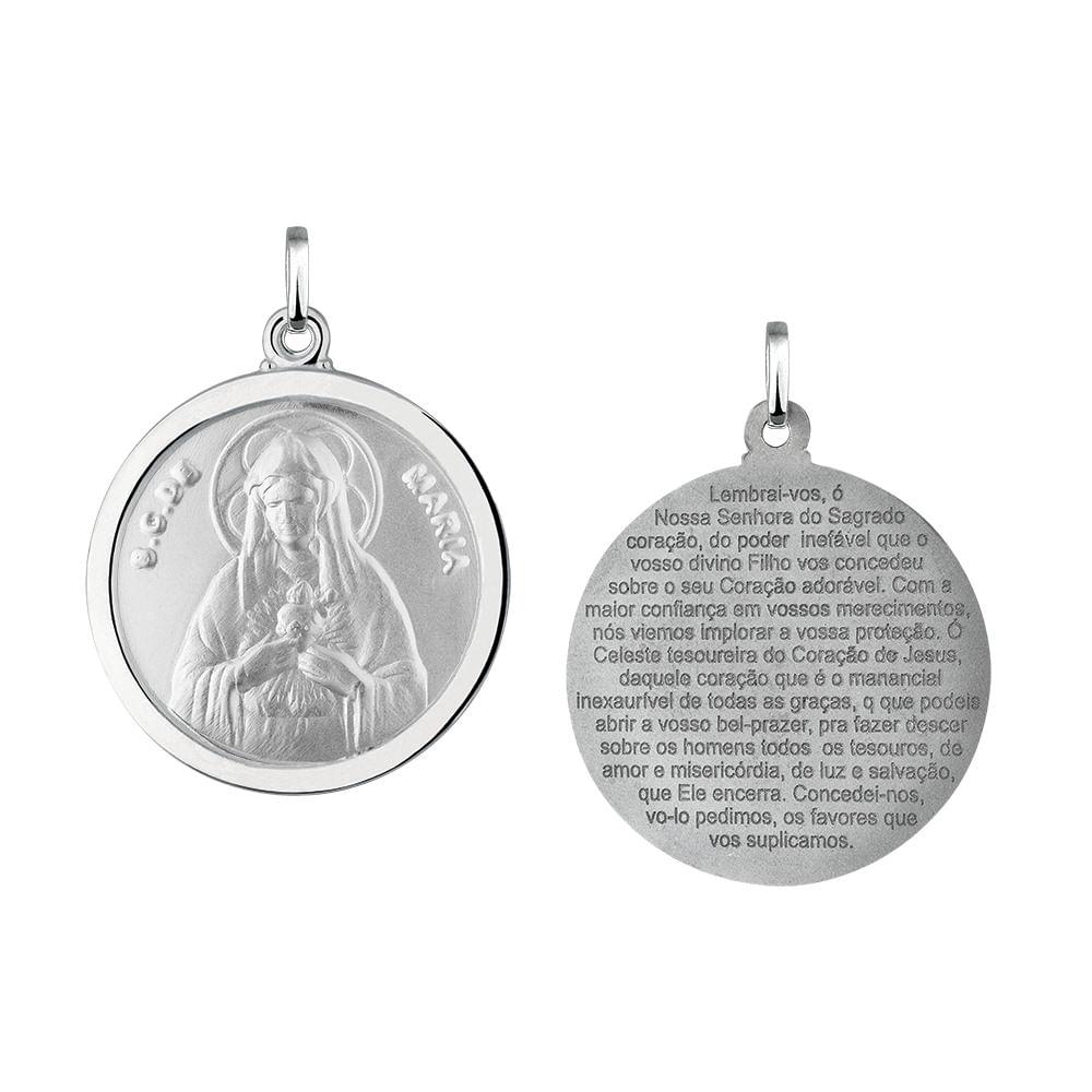 Pingente Sagrado Coração de Maria Redondo em Prata 925 - JoiaEmCasa 0732874572