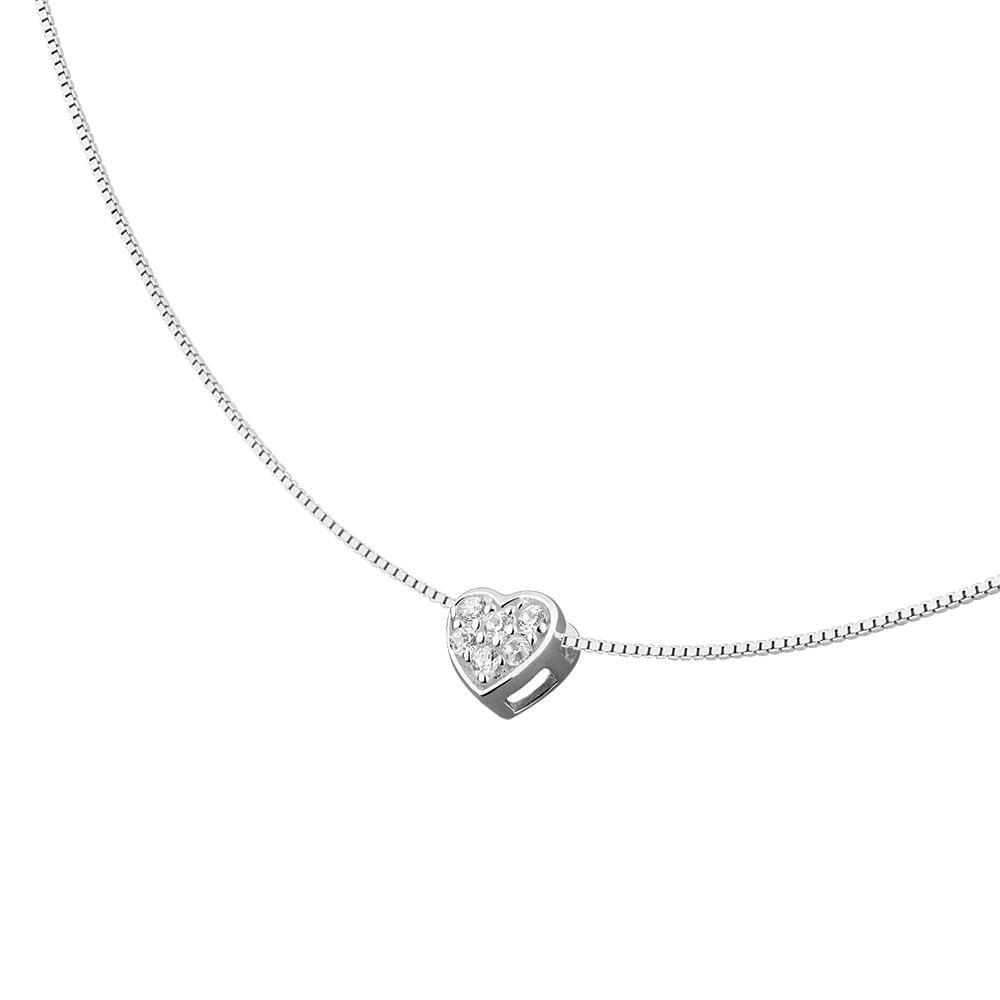 39e9a861e7f Colar de Coração com Pedras Brancas em Prata 925 - JoiaEmCasa