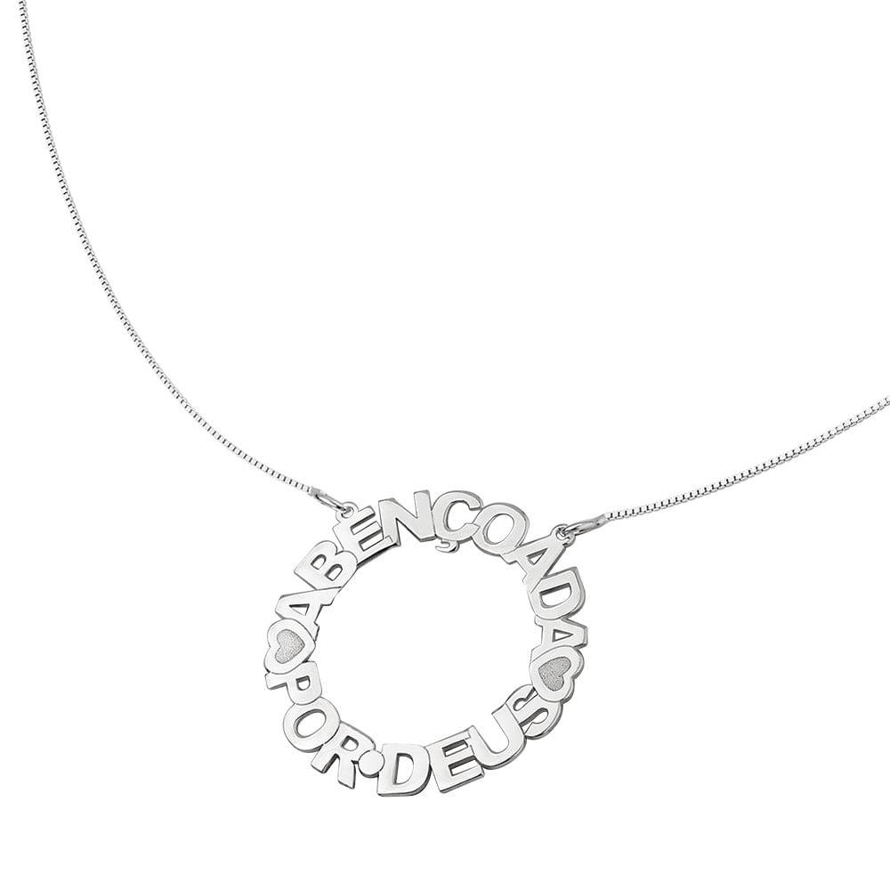 Colar Mandala de Prata Abençoada por Deus   Joia em Casa - JoiaEmCasa 577bafe557