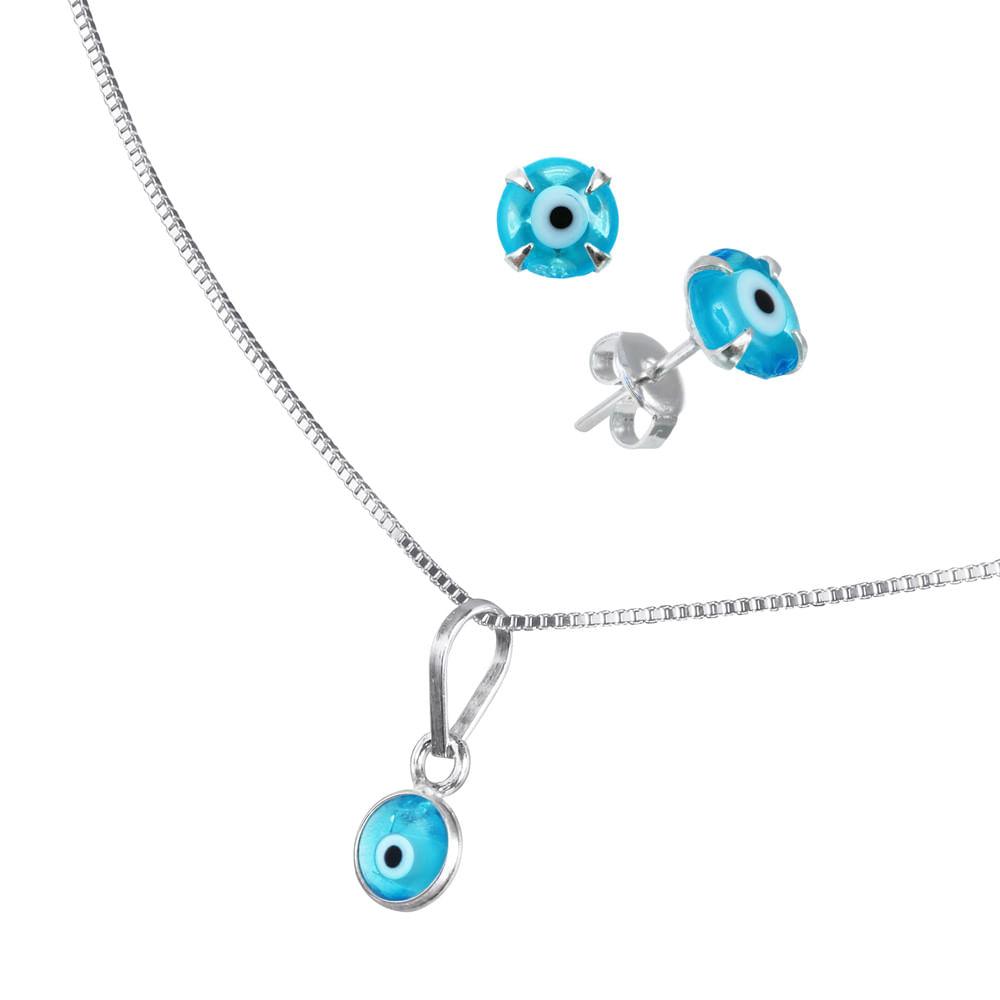 9a44e940970 Conjunto de Prata Olho Grego Azul Claro